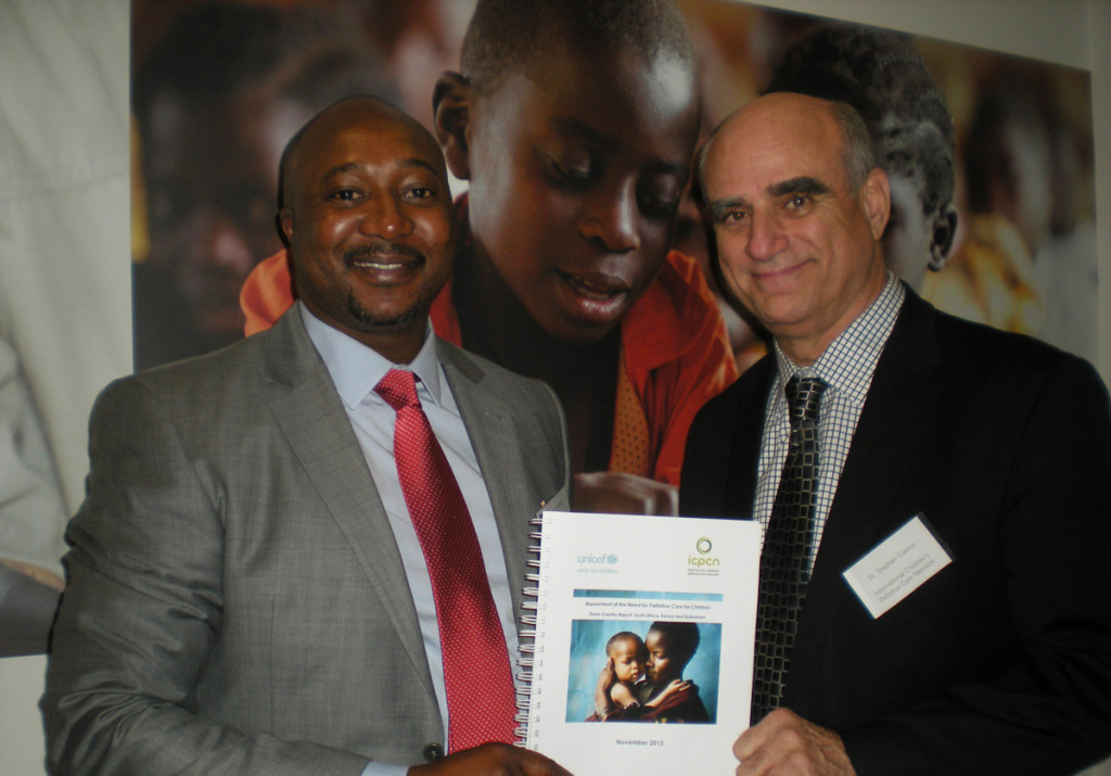 Chenjarai Sisimayi, and Stephen Connor show off the ICPCN/UNICEF research report