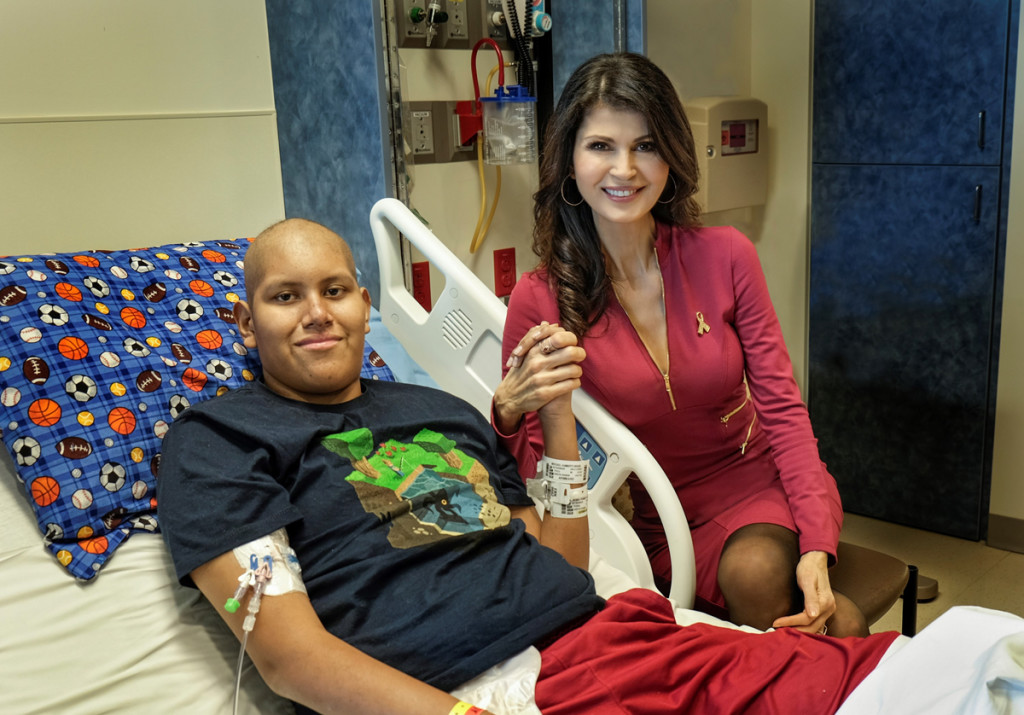 Micheline Etkin, ICPCN's Ambassador, with 13 year old Humberto Mercado at Cardon Children's Medical Center. Humberto has Acute Lymphoblastic Leukemia and has been at the centre since October 2014